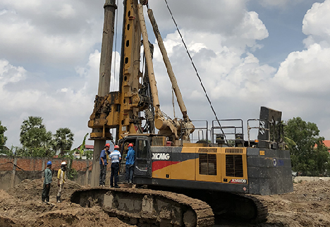 Self-Made Chassis Rotary Drilling Rig with the Largest Tonnage Exported by China - XCMG XR460D Assists Zijing No.1 Project in Phnom Penh